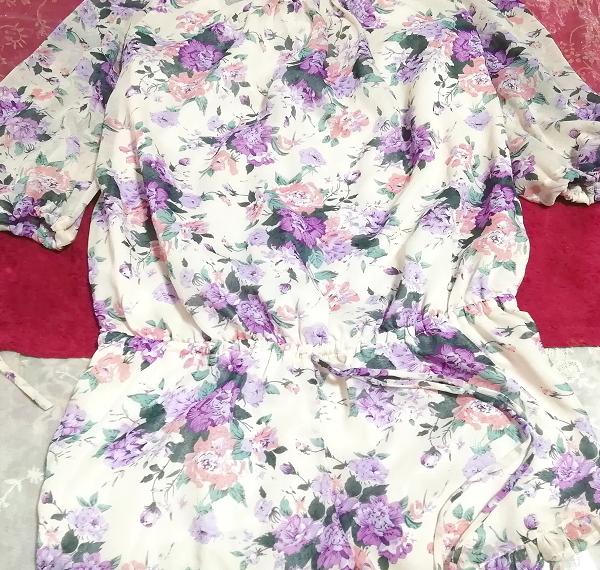 dazzlin ダズリン 白紫花柄シフォンキュロットワンピース White purple flower pattern chiffon currot onepiece_画像5