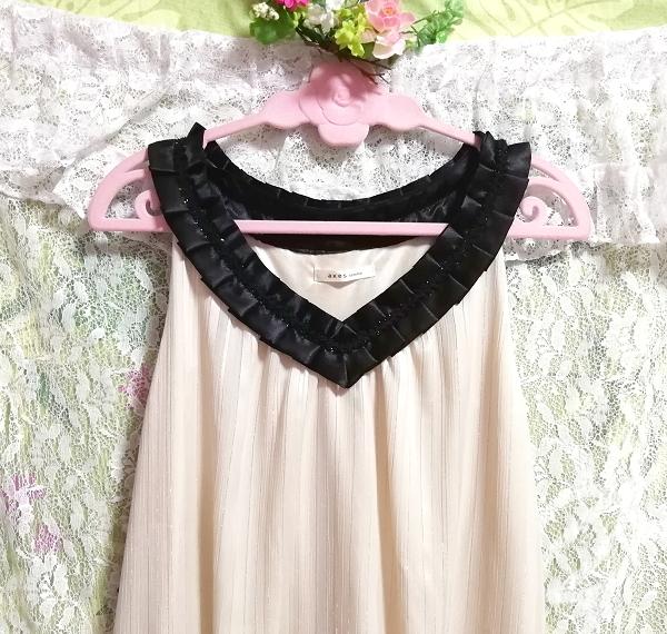 亜麻色ノースリーブチュニックドレス Flax color sleeveless tunic dress_画像6