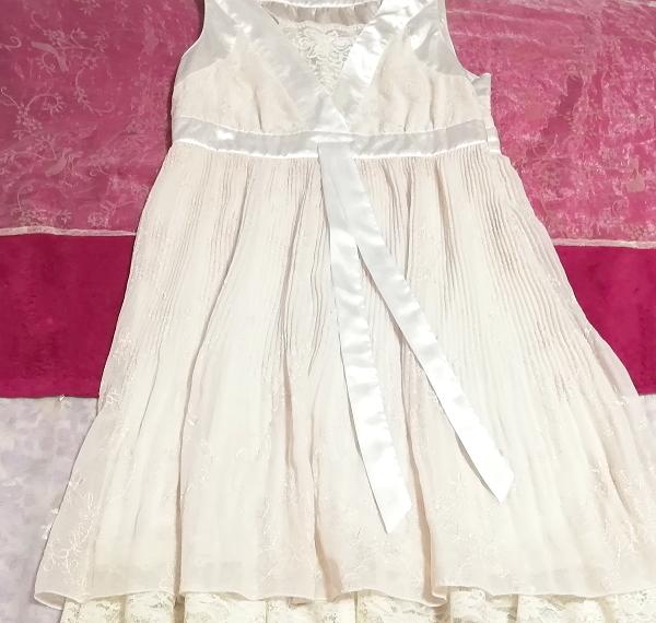 Pavot cing アイボリーホワイトサテンリボンノースリーブワンピースドレス Ivory white satin ribbon sleeveless onepiece dress_画像2