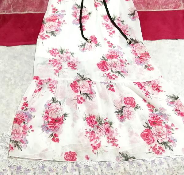 黒トップス白ピンク花柄シフォンスカートキャミソールマキシワンピース Black tops white pink floral print chiffon skirt maxi dress_画像2