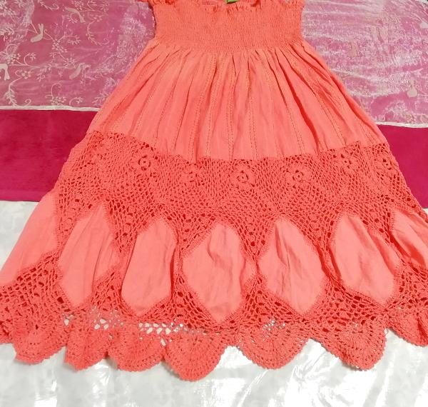 インド製赤ピンク綿コットン100%キャミソールワンピース Made in India red pink cotton 100% camisole onepiece_画像2