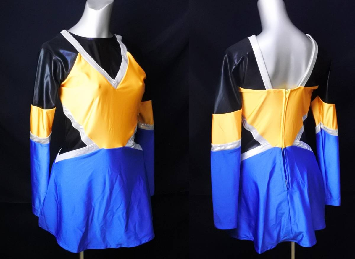 マーチング パレード ユニフォーム 衣装 レオタード一体デザイン 青×黄×黒