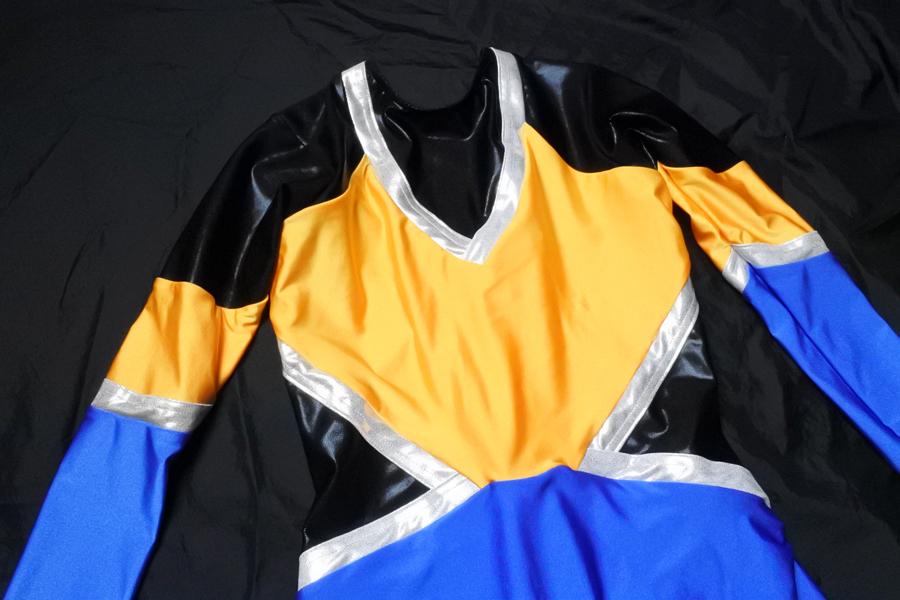 マーチング パレード ユニフォーム 衣装 レオタード一体デザイン 青×黄×黒_画像4