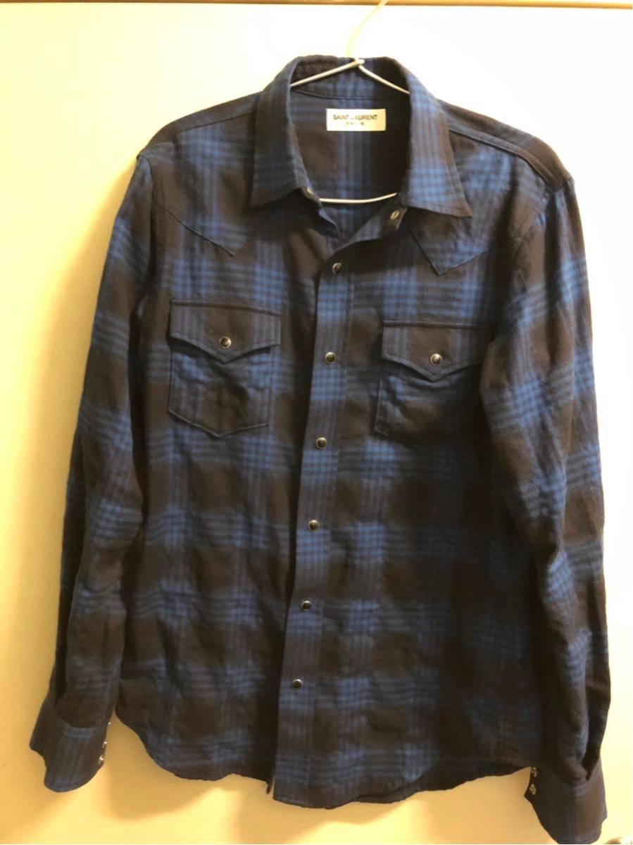saint laurent paris チェックシャツ Sサイズ 美品 正規本物