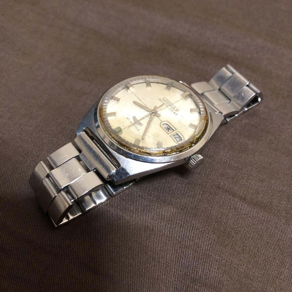 希少 レトロ 1970年代 CITIZEN SevenStars セブンスター 7 PARA WATER AUTOMATIC 21石 自動巻き メンズ腕時計 AP552903.Y 稼働品 ジャンク_画像10