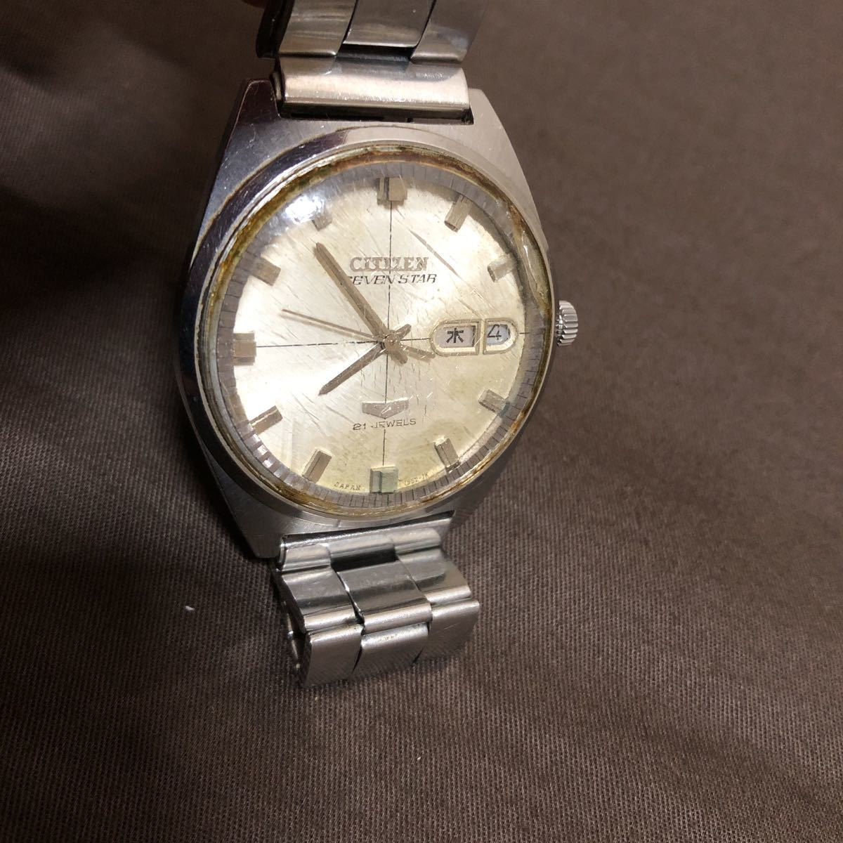 希少 レトロ 1970年代 CITIZEN SevenStars セブンスター 7 PARA WATER AUTOMATIC 21石 自動巻き メンズ腕時計 AP552903.Y 稼働品 ジャンク_画像2