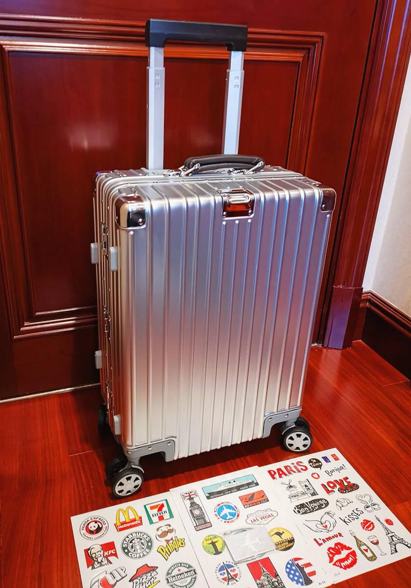 最上級※EU基準※オールアルミマグネシウム合金製・軽量/静音・TSAロック搭載スーツケース・キャリーケース※限定ステッカー5枚付