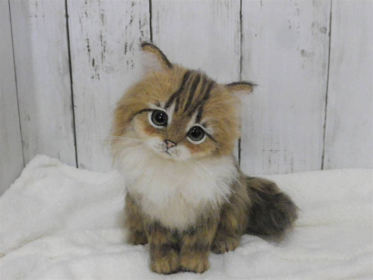 funwari■□■ 羊毛フェルト 仔猫 ふわり ペルシャ猫 チンチラゴールデン おすわりポーズ ハンドメイド_画像2