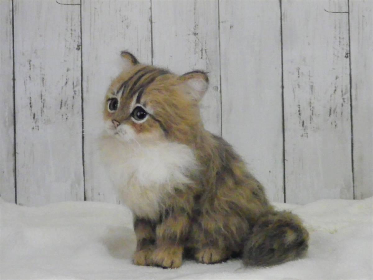 funwari■□■ 羊毛フェルト 仔猫 ふわり ペルシャ猫 チンチラゴールデン おすわりポーズ ハンドメイド_画像4