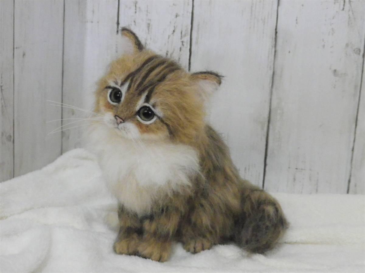 funwari■□■ 羊毛フェルト 仔猫 ふわり ペルシャ猫 チンチラゴールデン おすわりポーズ ハンドメイド_画像6
