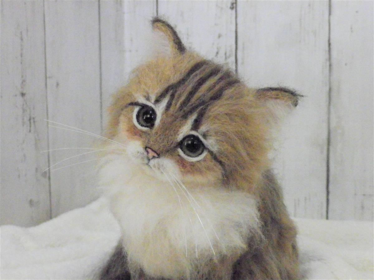 funwari■□■ 羊毛フェルト 仔猫 ふわり ペルシャ猫 チンチラゴールデン おすわりポーズ ハンドメイド_画像7