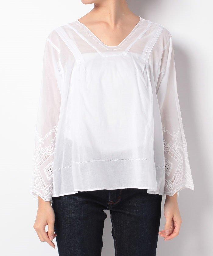 Unused ZUCCa Zucca cotton embroidered shirt price of 33,480 yen 2017S / S white cotton shirt loan