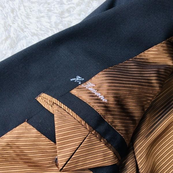6714 超美品 スリーピース ランバン コレクション LANVIN スーツ ブラックxゴールドxブラウン メンズ モヘヤ M~L 英国調クラシック_画像7