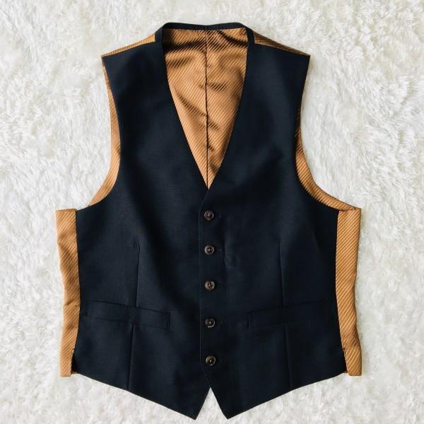 6714 超美品 スリーピース ランバン コレクション LANVIN スーツ ブラックxゴールドxブラウン メンズ モヘヤ M~L 英国調クラシック_画像9