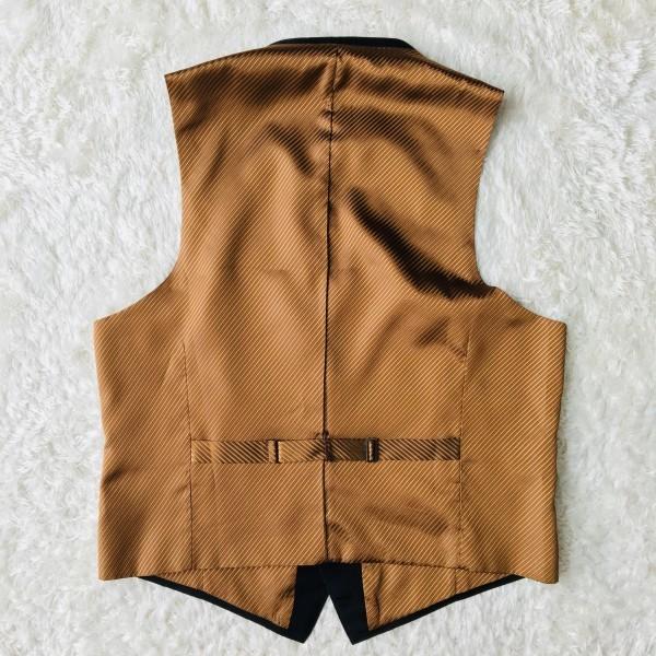 6714 超美品 スリーピース ランバン コレクション LANVIN スーツ ブラックxゴールドxブラウン メンズ モヘヤ M~L 英国調クラシック_画像10