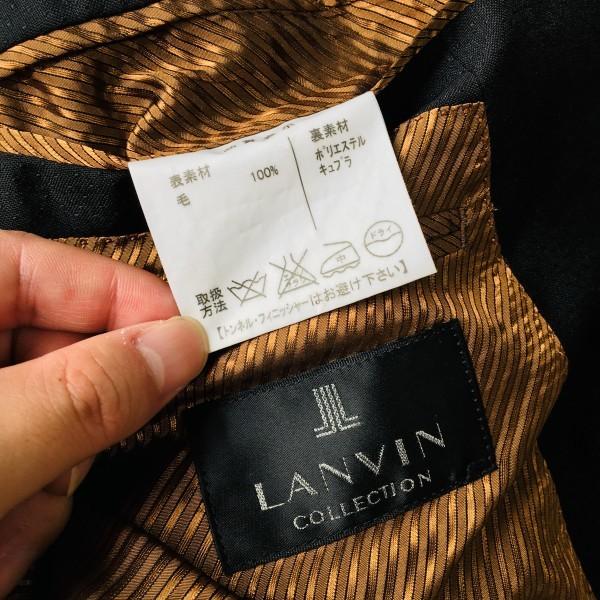 6714 超美品 スリーピース ランバン コレクション LANVIN スーツ ブラックxゴールドxブラウン メンズ モヘヤ M~L 英国調クラシック_画像8
