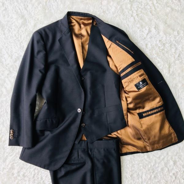6714 超美品 スリーピース ランバン コレクション LANVIN スーツ ブラックxゴールドxブラウン メンズ モヘヤ M~L 英国調クラシック
