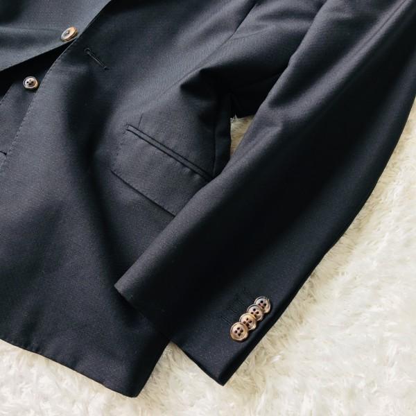 6714 超美品 スリーピース ランバン コレクション LANVIN スーツ ブラックxゴールドxブラウン メンズ モヘヤ M~L 英国調クラシック_画像5
