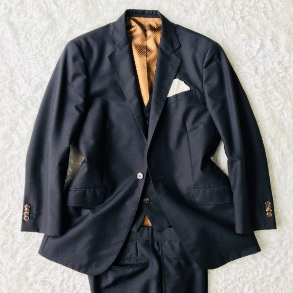6714 超美品 スリーピース ランバン コレクション LANVIN スーツ ブラックxゴールドxブラウン メンズ モヘヤ M~L 英国調クラシック_画像2