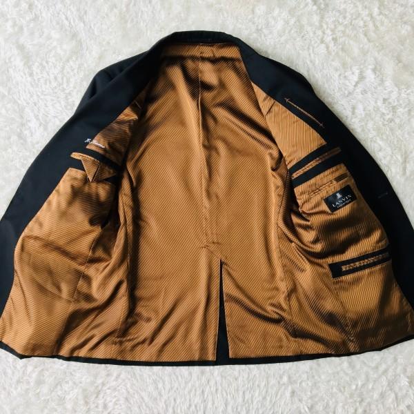 6714 超美品 スリーピース ランバン コレクション LANVIN スーツ ブラックxゴールドxブラウン メンズ モヘヤ M~L 英国調クラシック_画像6