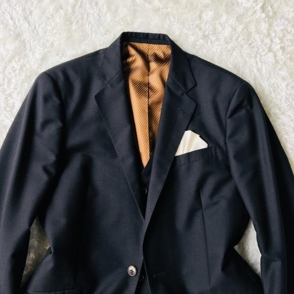 6714 超美品 スリーピース ランバン コレクション LANVIN スーツ ブラックxゴールドxブラウン メンズ モヘヤ M~L 英国調クラシック_画像3