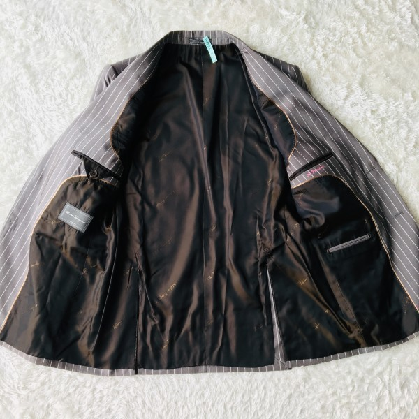 6747 超美品 シルク混 Ferragamo フェラガモ メンズ スーツ イタリアン ストライプ グレーxホワイト M~L ペンシルストライプ_画像6