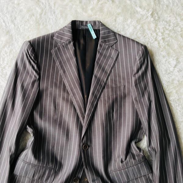 6747 超美品 シルク混 Ferragamo フェラガモ メンズ スーツ イタリアン ストライプ グレーxホワイト M~L ペンシルストライプ_画像3