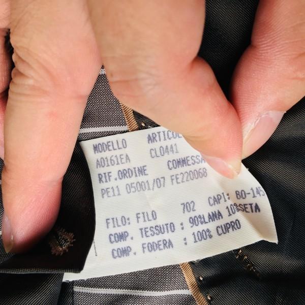 6747 超美品 シルク混 Ferragamo フェラガモ メンズ スーツ イタリアン ストライプ グレーxホワイト M~L ペンシルストライプ_画像10