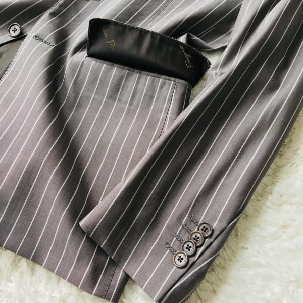 6747 超美品 シルク混 Ferragamo フェラガモ メンズ スーツ イタリアン ストライプ グレーxホワイト M~L ペンシルストライプ_画像5