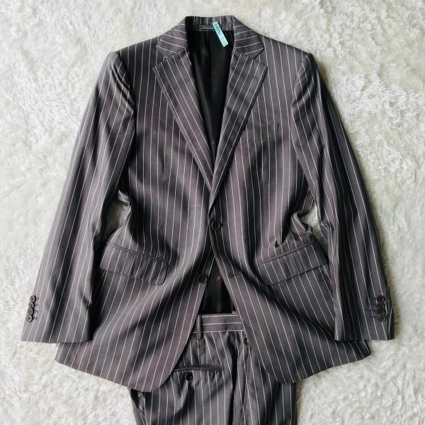 6747 超美品 シルク混 Ferragamo フェラガモ メンズ スーツ イタリアン ストライプ グレーxホワイト M~L ペンシルストライプ