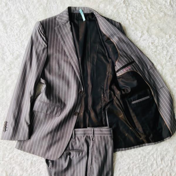 6747 超美品 シルク混 Ferragamo フェラガモ メンズ スーツ イタリアン ストライプ グレーxホワイト M~L ペンシルストライプ_画像2