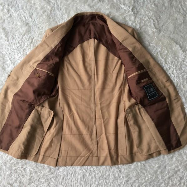 6726 美品 SOVEREIGN ソブリン セットアップ 48 ベージュ キャメル メンズ ユナイテッドアローズ M~L 最高級スーツ 英国調ペンチェック_画像6