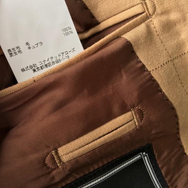 6726 美品 SOVEREIGN ソブリン セットアップ 48 ベージュ キャメル メンズ ユナイテッドアローズ M~L 最高級スーツ 英国調ペンチェック_画像9