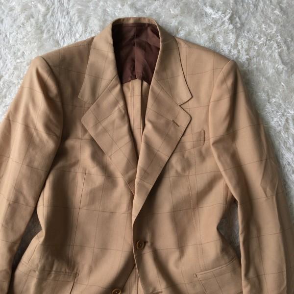 6726 美品 SOVEREIGN ソブリン セットアップ 48 ベージュ キャメル メンズ ユナイテッドアローズ M~L 最高級スーツ 英国調ペンチェック_画像2