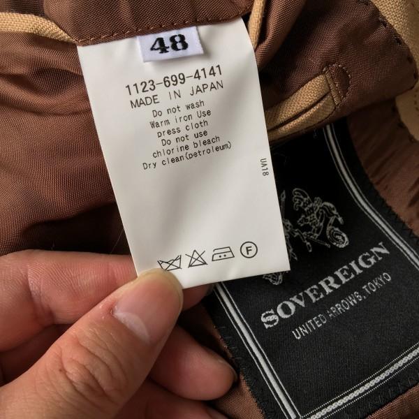 6726 美品 SOVEREIGN ソブリン セットアップ 48 ベージュ キャメル メンズ ユナイテッドアローズ M~L 最高級スーツ 英国調ペンチェック_画像8