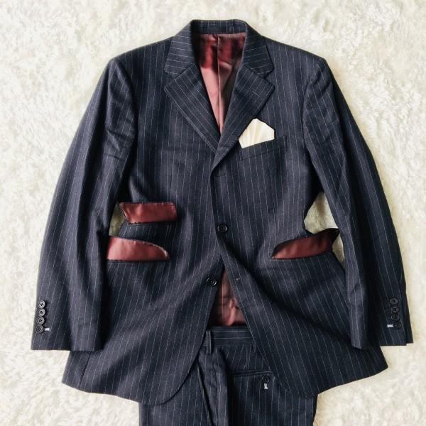 6733 美品 バーバリーブラックレーベル Burberry スーツ ダークグレー メンズ ストライプ 本切羽 アームホール ホワイト ワインレッド_画像2