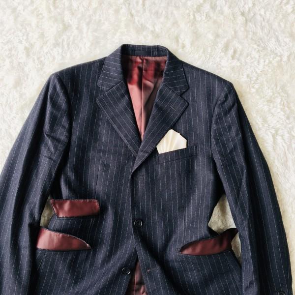 6733 美品 バーバリーブラックレーベル Burberry スーツ ダークグレー メンズ ストライプ 本切羽 アームホール ホワイト ワインレッド_画像3