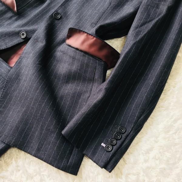 6733 美品 バーバリーブラックレーベル Burberry スーツ ダークグレー メンズ ストライプ 本切羽 アームホール ホワイト ワインレッド_画像5