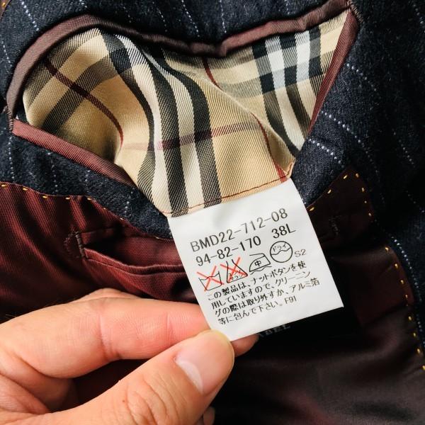 6733 美品 バーバリーブラックレーベル Burberry スーツ ダークグレー メンズ ストライプ 本切羽 アームホール ホワイト ワインレッド_画像9