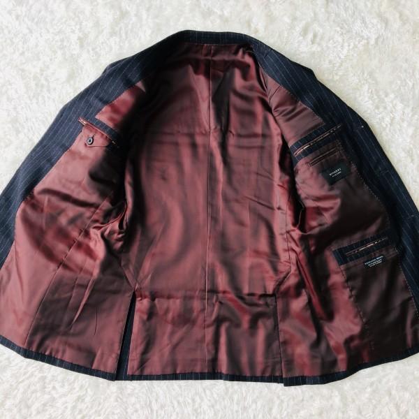 6733 美品 バーバリーブラックレーベル Burberry スーツ ダークグレー メンズ ストライプ 本切羽 アームホール ホワイト ワインレッド_画像7