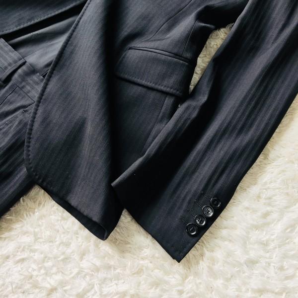 6732 美品 DOLCE&GABBANA ドルチェ&ガッバーナ ドルガバ セットアップ スーツ 黒 ストライプ イタリアンスーツ ブラック シルクタッチ_画像6