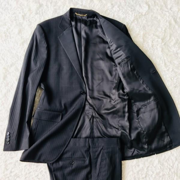 6732 美品 DOLCE&GABBANA ドルチェ&ガッバーナ ドルガバ セットアップ スーツ 黒 ストライプ イタリアンスーツ ブラック シルクタッチ
