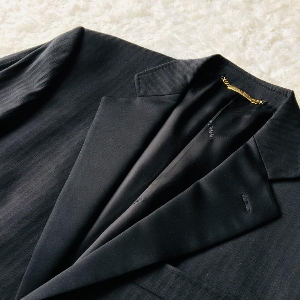 6732 美品 DOLCE&GABBANA ドルチェ&ガッバーナ ドルガバ セットアップ スーツ 黒 ストライプ イタリアンスーツ ブラック シルクタッチ_画像5
