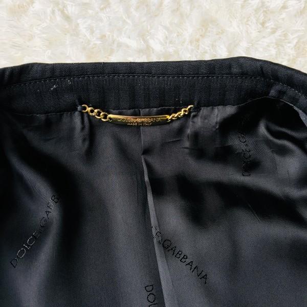 6732 美品 DOLCE&GABBANA ドルチェ&ガッバーナ ドルガバ セットアップ スーツ 黒 ストライプ イタリアンスーツ ブラック シルクタッチ_画像8