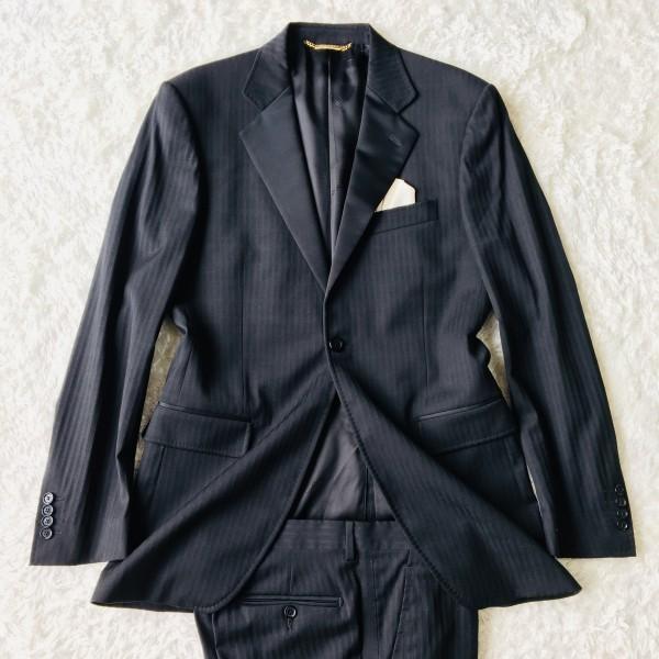6732 美品 DOLCE&GABBANA ドルチェ&ガッバーナ ドルガバ セットアップ スーツ 黒 ストライプ イタリアンスーツ ブラック シルクタッチ_画像2