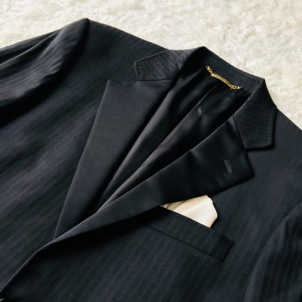 6732 美品 DOLCE&GABBANA ドルチェ&ガッバーナ ドルガバ セットアップ スーツ 黒 ストライプ イタリアンスーツ ブラック シルクタッチ_画像4