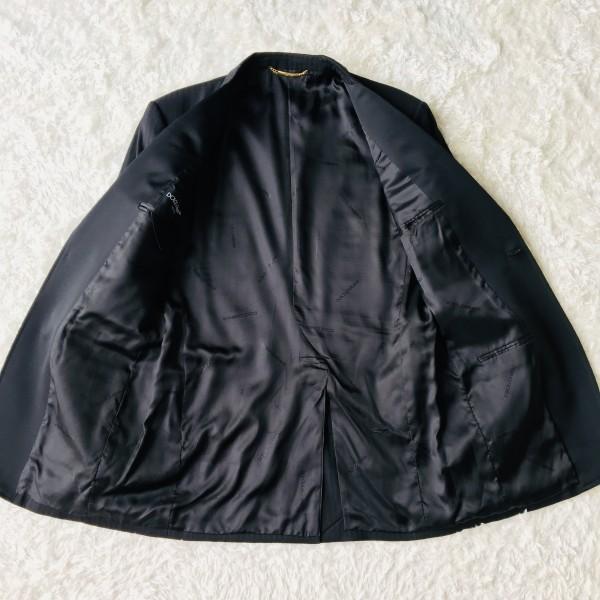 6732 美品 DOLCE&GABBANA ドルチェ&ガッバーナ ドルガバ セットアップ スーツ 黒 ストライプ イタリアンスーツ ブラック シルクタッチ_画像7