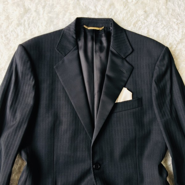 6732 美品 DOLCE&GABBANA ドルチェ&ガッバーナ ドルガバ セットアップ スーツ 黒 ストライプ イタリアンスーツ ブラック シルクタッチ_画像3