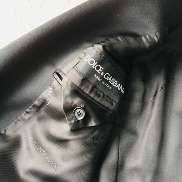 6732 美品 DOLCE&GABBANA ドルチェ&ガッバーナ ドルガバ セットアップ スーツ 黒 ストライプ イタリアンスーツ ブラック シルクタッチ_画像9