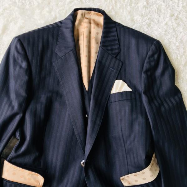 6716 超美品xスリーピース DORMEUIL ドーメル シングル スーツ ネイビーxゴールド M~L メンズ ストライプ 3ピース_画像3